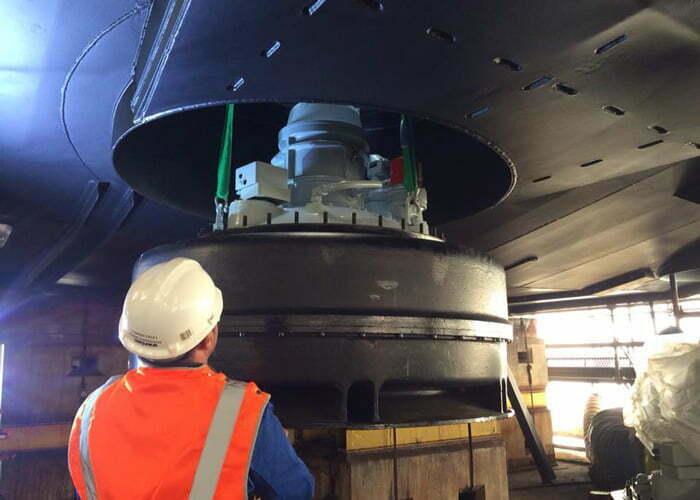 engineer repairing main propulsion unit