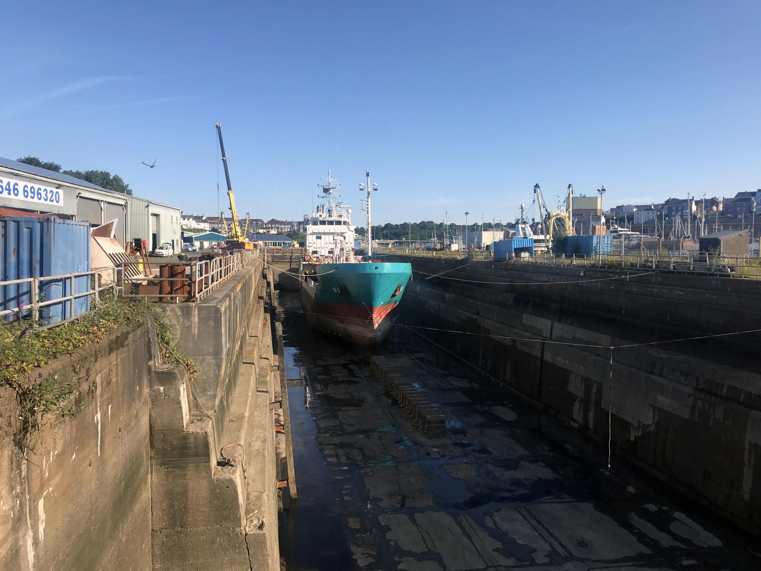 Vessel in drydock