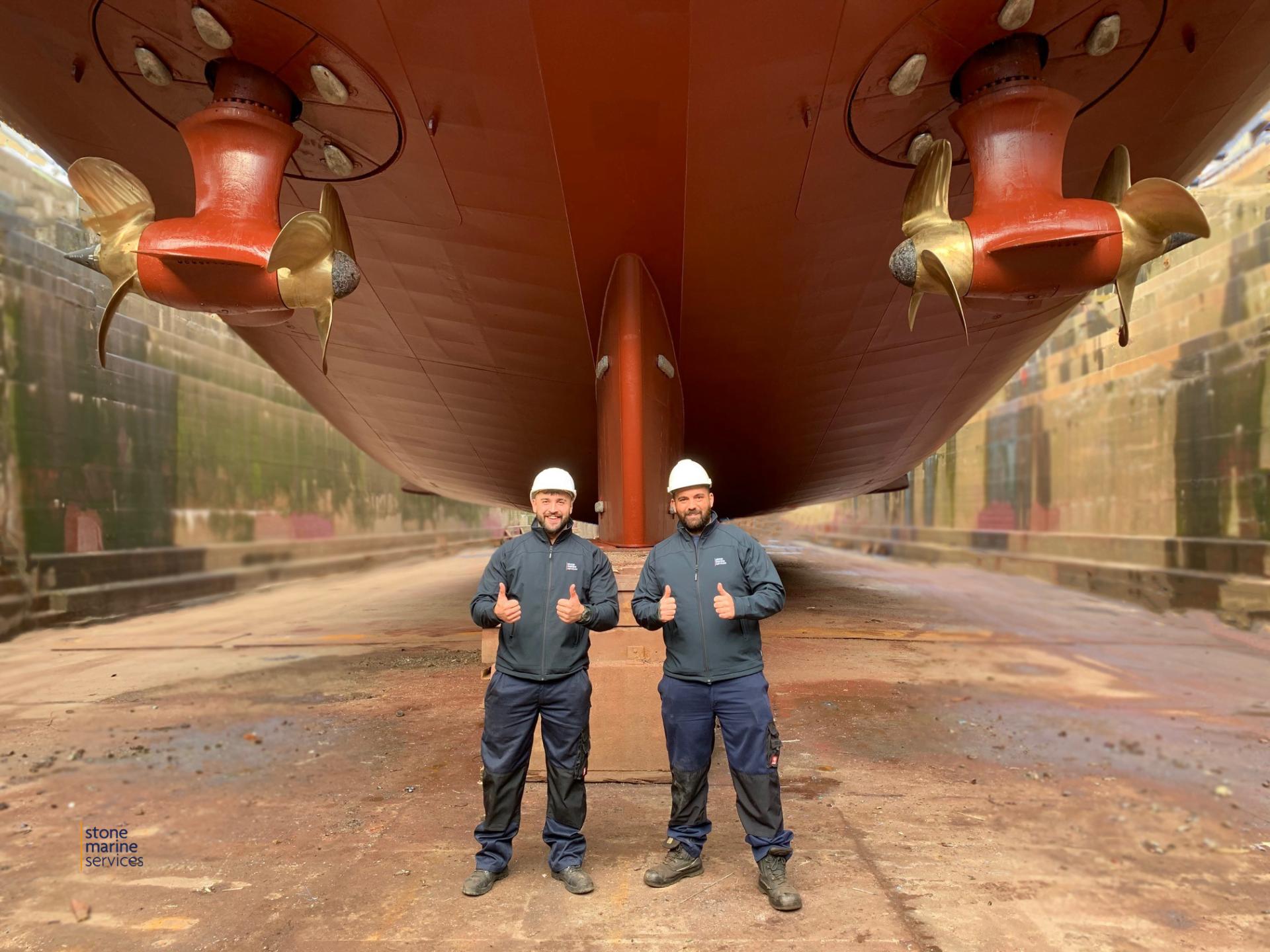 marine service engineers in drydock