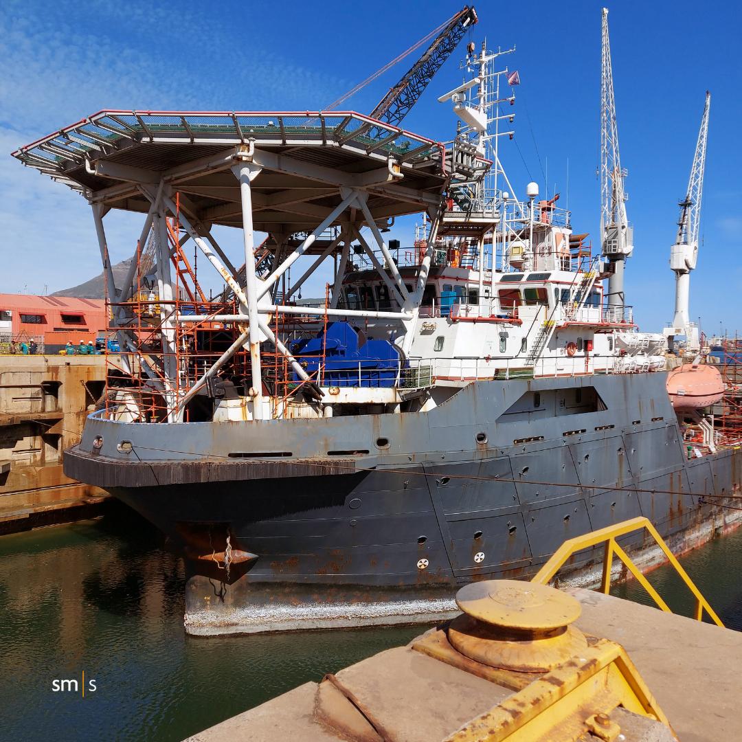 Vessel in water for repair