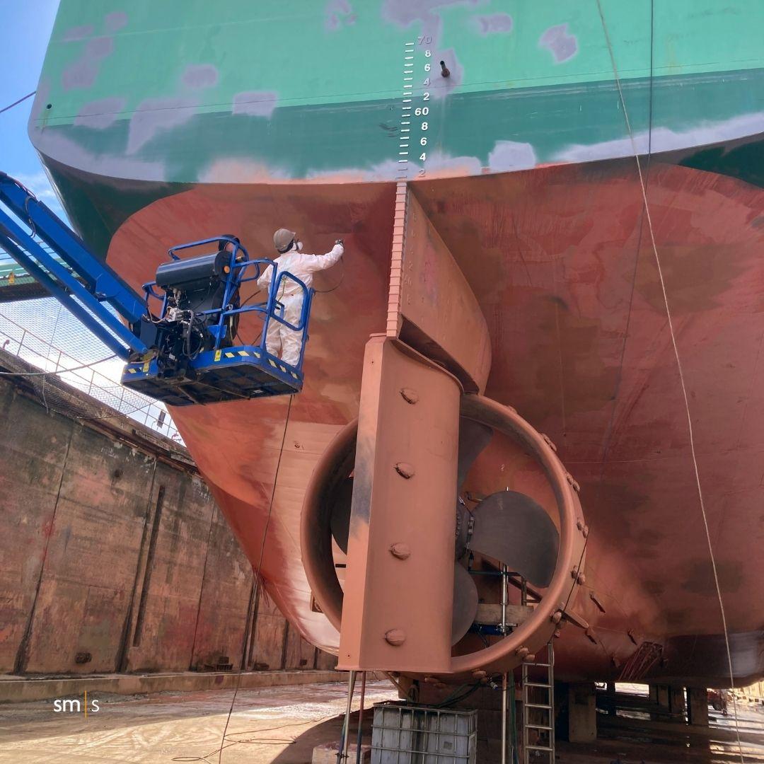 vessel propulsion system in drydock